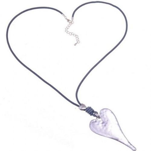 Grey Leather Long Necklace with Silver Heart Pendant